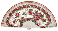 Hand painted birch wood fan 4593BLA