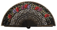 Hand painted birch wood fan 4594NEG