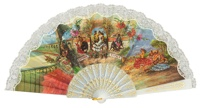 """Semi-pericon"" plastic fan with folklore 579/1BLA"