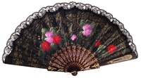 "Hand painted ""Semi-pericón"" wooden fan 710NEG"