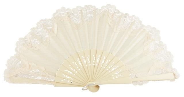 Wooden fan with lace 3039MMM
