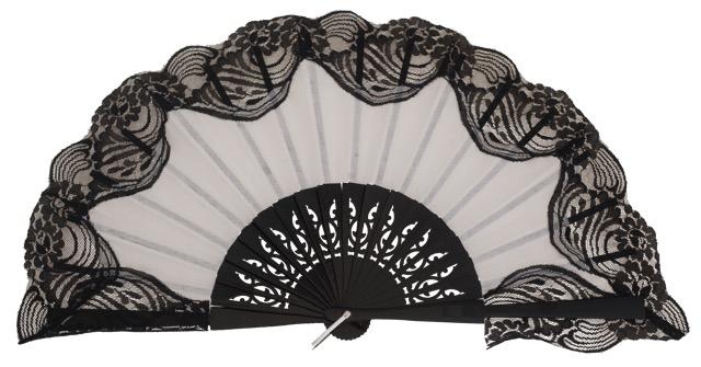 Wooden fan with lace 3039NBN
