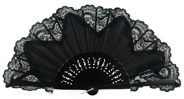 Wooden fan with lace 3039NNN