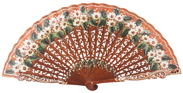 "Hand painted fan with ""sipo"" wood 3092NOG"
