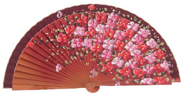 Abanico madera peral flores 3101GRA