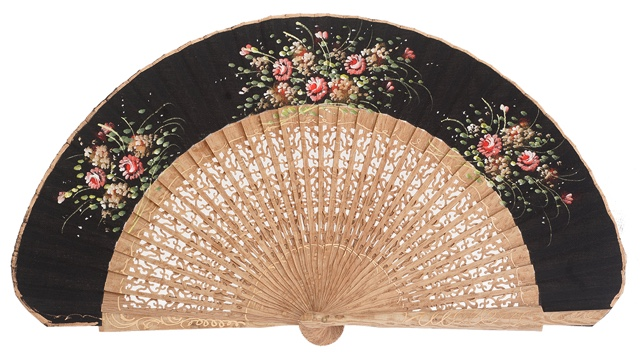 Hand painted oak wood fan 3121NEG