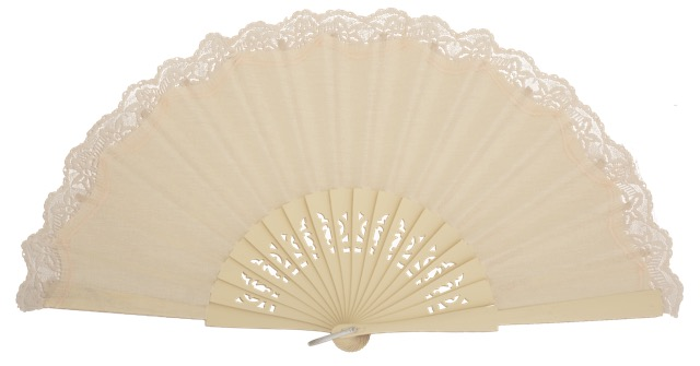 Birch wood fan with lace 3134MFL