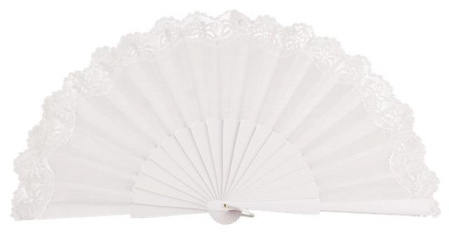 Birch wood fan with lace 3135BLA