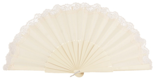 Birch wood fan with lace 3135MFL