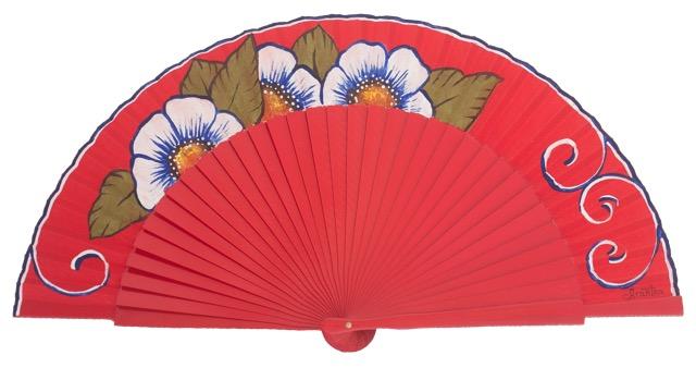 Hand painted birch wood fan 3142ROJ