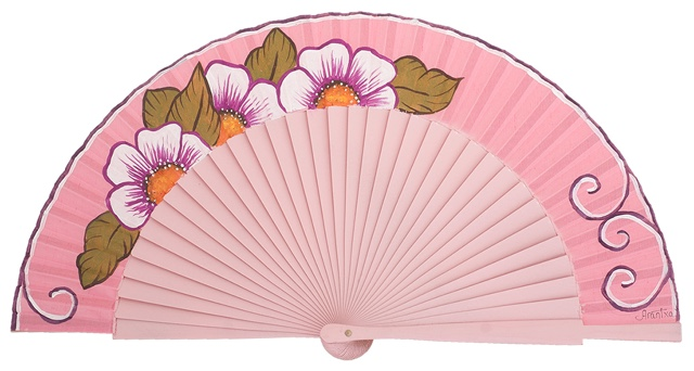 Hand painted birch wood fan 3142ROS