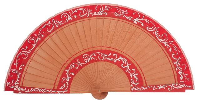 Hand painted pear wood fan 3152ROJ