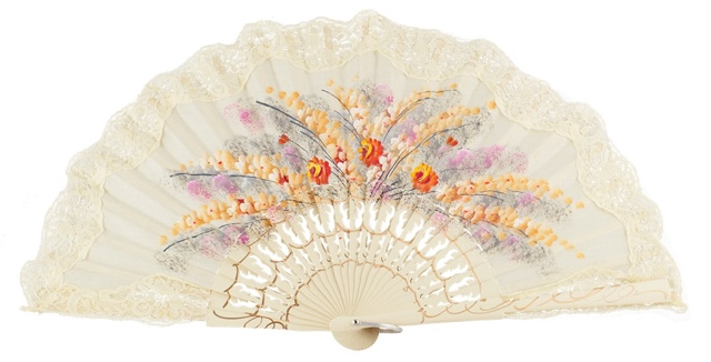 Hand painted birch wood fan 3164MFL