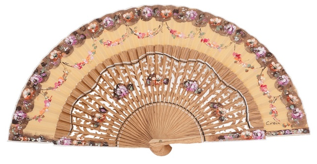 Hand painted oak wood fan 3165AVE
