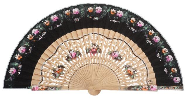 Hand painted oak wood fan 3165NEG