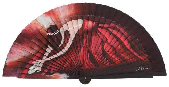 Hand painted fagus wood fan 3179NEG