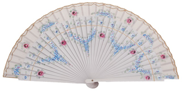 Hand painted fagus wood fan 3206BLA