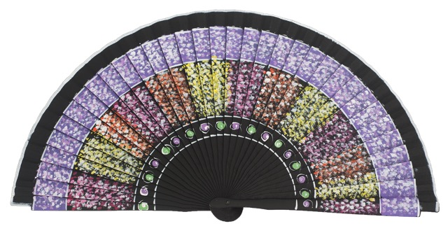 Hand painted fagus wood fan 3210NEG