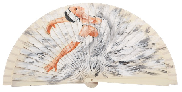 Hand painted fagus wood fan 3242MFL