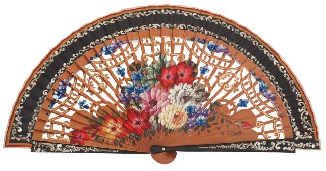 Abanico madera peral flores 3275NEG
