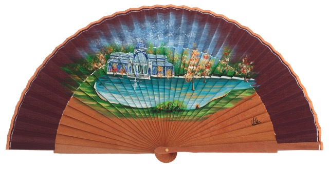 Hand painted pear wood fan 3284GRA