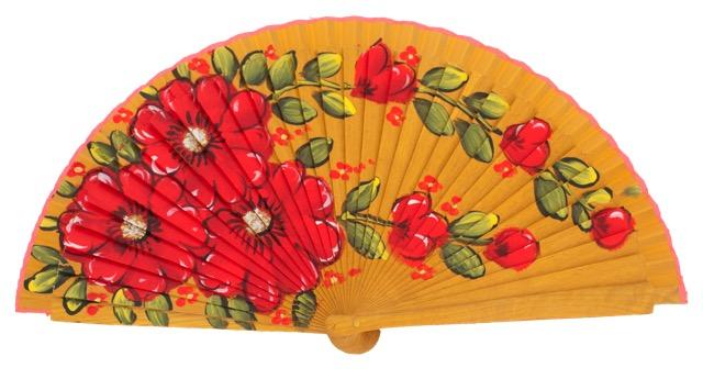 Hand painted fagus wood fan 3313AMA