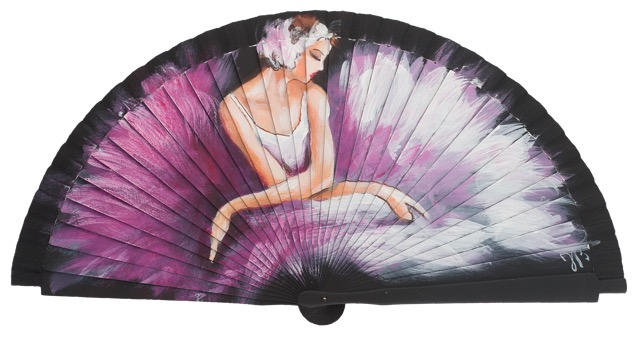 Hand painted fagus wood fan 3329NEG