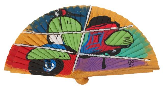 Hand painted birch wood fan 3338AMA