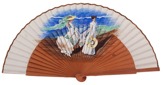 Hand painted pear wood fan 3339BLA
