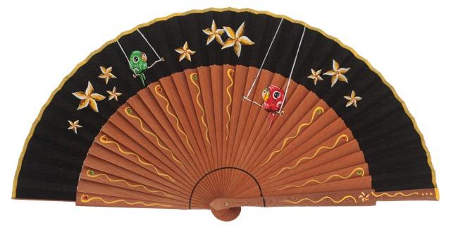 Hand painted pear wood fan 3340NEG
