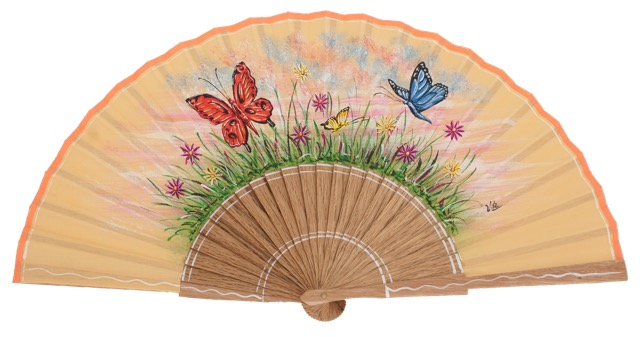 Hand painted oak wood fan 3341AVE