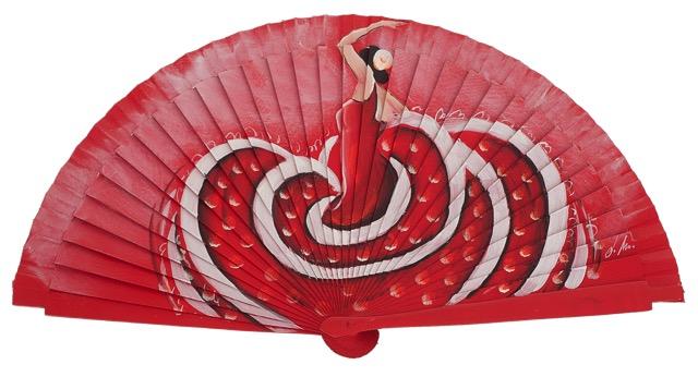 Hand painted fagus wood fan 3360ROJ
