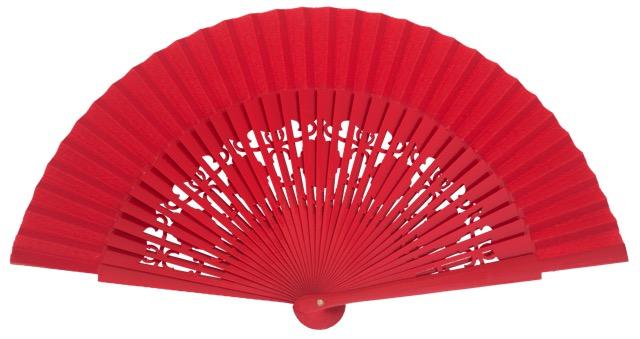 Wooden fan in colors 4058ROJ