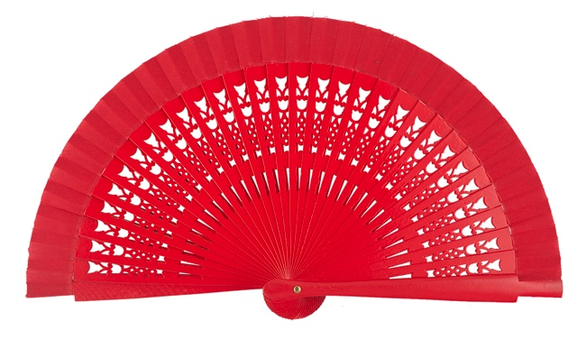 Wooden fan in colors 4064ROJ