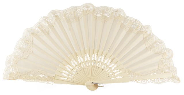 Wooden fan with lace 4306MFL
