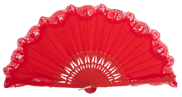 Wooden fan with lace 4306ROJ