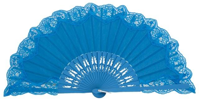 Wooden fan with lace 4306TUR