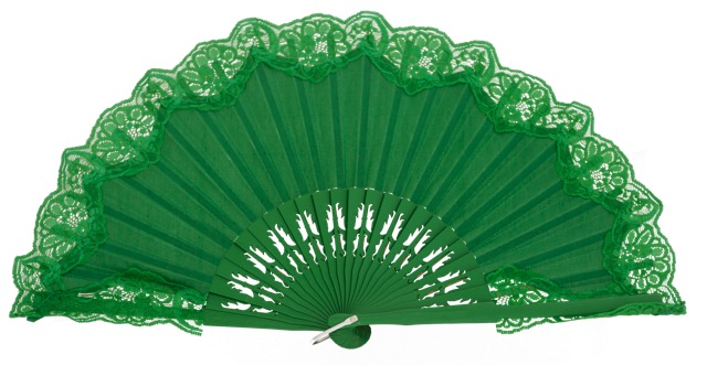 Wooden fan with lace 4306VER