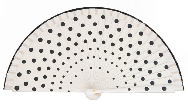 Wood fan with polka dots 4390BLN