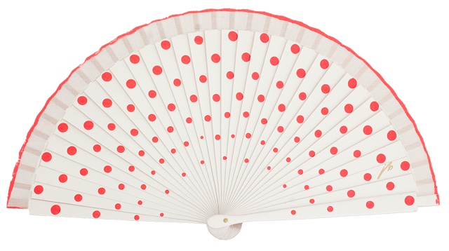 Wood fan with polka dots 4390BLR