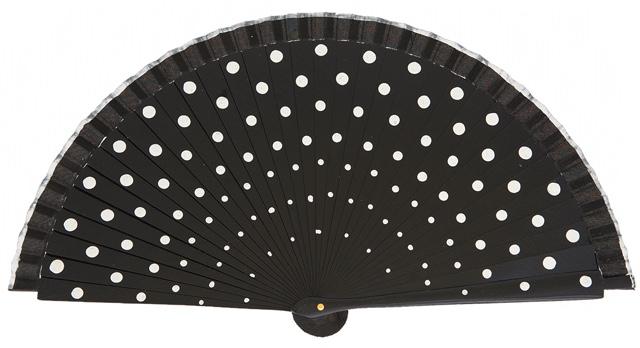 Wood fan with polka dots 4390NEB