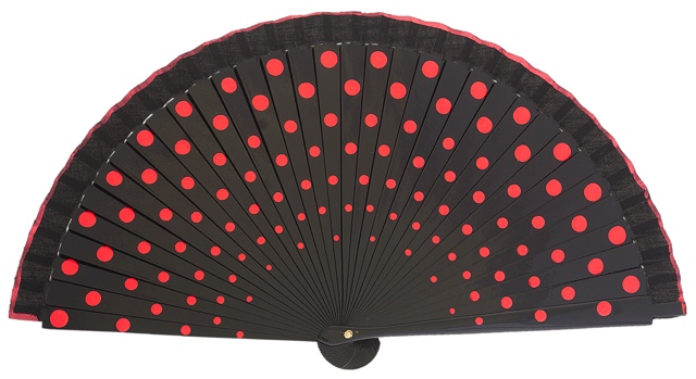 Wood fan with polka dots 4390NER