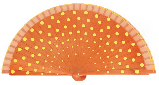 Wood fan with polka dots 4390NOA