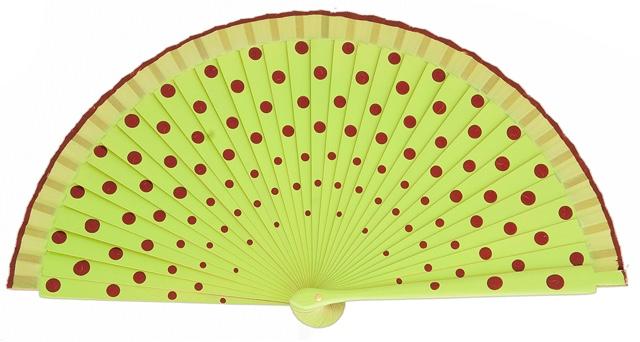 Wood fan with polka dots 4390PIN