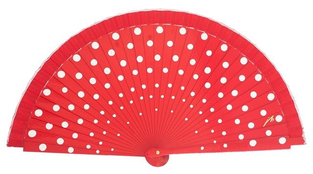 Wood fan with polka dots 4390RJB
