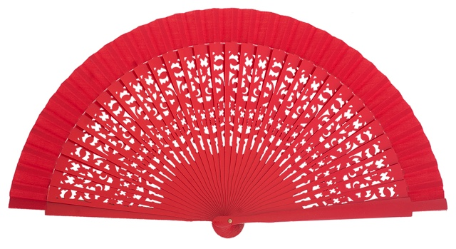 Wooden fan in colors 4409ROJ