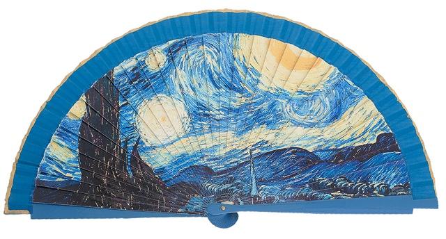 Abanico madera pinturas 4454TUR
