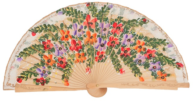 Hand painted birch wood fan 4469NAT