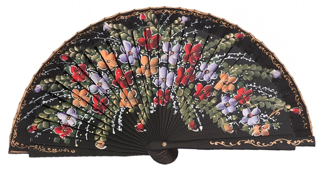 Hand painted birch wood fan 4469NEG