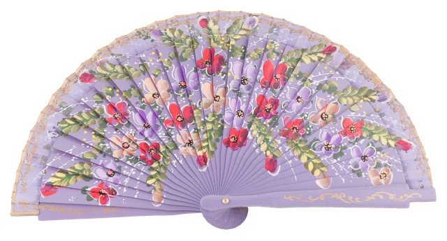Hand painted birch wood fan 4469PAS